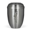 kovinska pogrebna žara s srebrnim cvetom